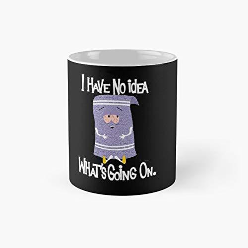Towelie - Taza de café con texto en inglés 'I Have No Idea Whats Going On', color negro