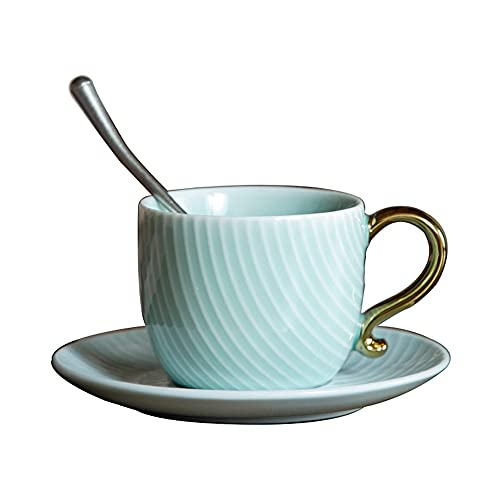 SXXYTCWL Taza de café y platillo Conjunto de cerámica Ear Ear Coffee Coffee Taza de Agua Taza de té Taza de té Taza de café Máquina de café Taza