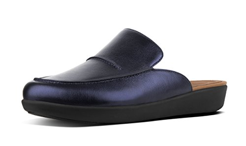 FitFlop Womens Serene Metallic Leather Mule Shoes, Midnight Navy, US 11