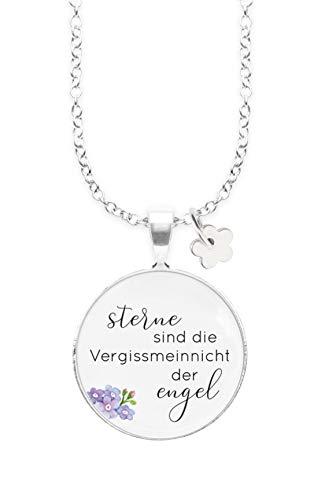Nickelfreie Kette mit Sterlingsilber-Legierung 80 cm mit Anhänger Spruch in 2,5cm großer Glaslinse und Charm Blume: Sterne sind die Vergissmeinnicht der Engel (mit Vergissmeinnicht)