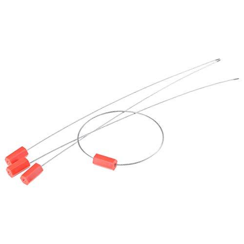 Sourcingmap - Etiquetas de seguridad antimanipulación para cables de acero, 33 cm de largo, para puerta de camión contenedor de carga, color rojo, paquete de 50