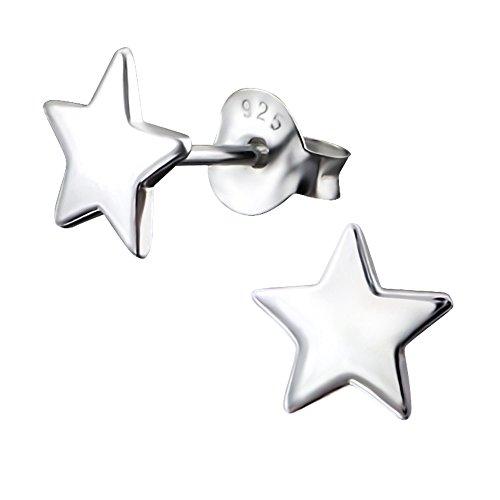 Laimons Pendientes para mujer Estrella lisa Brillante Plata de ley 925