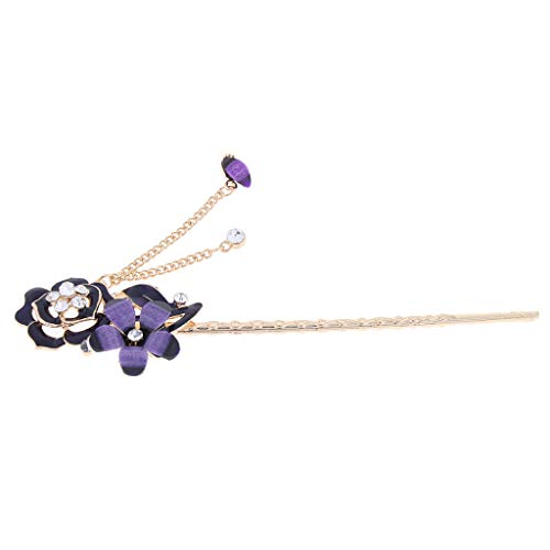 freneci Pin de Pelo Chino para Mujer con Broche de Diamantes de Imitación de Cristal con Borla - Estilo 1-Púrpura