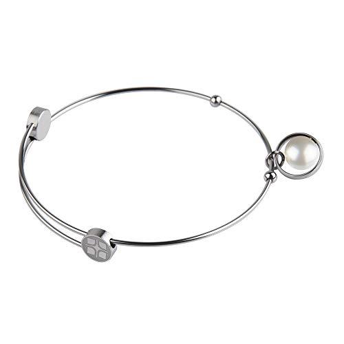 Ernstes Design Armreif Edelstahl A214 WHP mit Anhänger Perle Armband