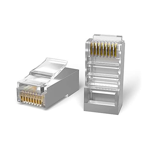 Mr. Tronic 100 Connettori RJ45 Ethernet Di Rete | 8P8C Plug Modulare a Crimpare | Reti LAN Gigabit Alta Velocità | Connessione Internet | Ideale per PC, Router, Modem, Switch, TV (100 Pezzi, CAT6 STP)