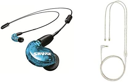 Shure SE215 BT2 Wireless Sound Isolating Earbuds Blue EAC64CL Detachable 64 Earphone Cable for product image