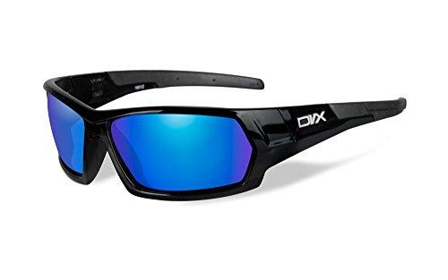 DVX Next - ANSI Z87.1 - Blue Mirror Lenses/Gloss Black Frame (OSHA Compliant Safety Glasses)