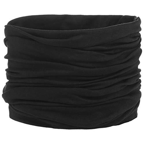 Jersey Multifunktionstuch - Tuch/Schal für Hals, Gesicht, Mund, Nase - Halstuch für Unterwegs und beim Sport - tragbar im Sommer/Winter - schwarz - One Size (ca. 25 cm x 50 cm)