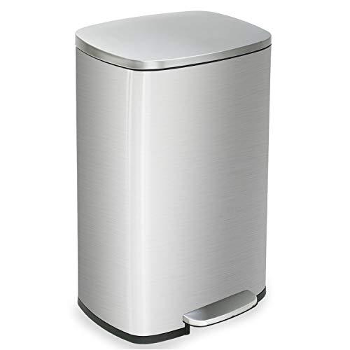 Kitchen Trash Can With Lid For Office Bedroom Bathroom Step Trash Bin Fingerprint-Proof Garbage Bin Brushed Stainless Steel 13 Gallon  50 Liter