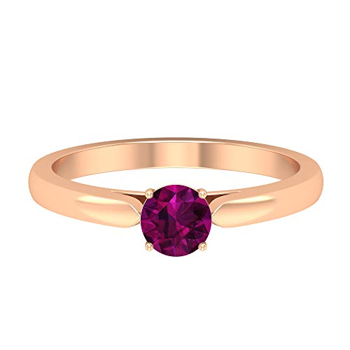 5 MM Rhodolite Ring, Crown Setting Ring, Gold Simple Promise Rings for Women, Solitaire Engagement Ring (AAA Quality), 14K Rose Gold, Size:UK P1/2