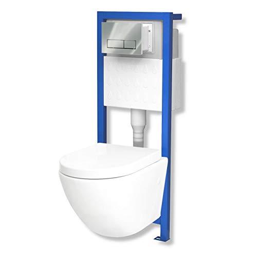 Domino Lavita Vorwandelement inkl. Drückerplatte + Wand-WC Sofi ohne Spülrand + WC-Sitz mit Soft-Close Absenkautomatik Drückerplatte RC (chrom)