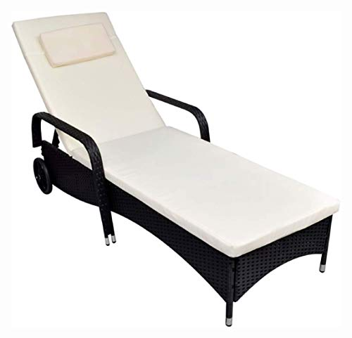Sun Lounger, Sun Lounger with Cushion & Wheels Poly Rattan Black