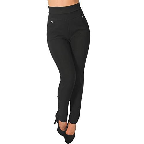 Tregging Thermo High Waist Legging Stretch Hose Jeans Jegging Sticker (L-XL, Schwarz)