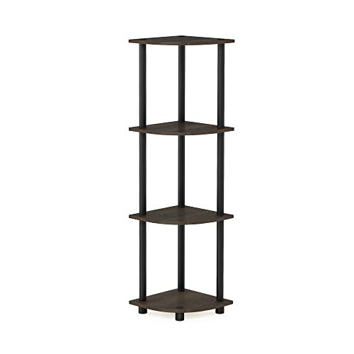Furinno Turn-n-Tube Multipurpose 4-Tier Corner Shelf, Dark Brown Grain/Black