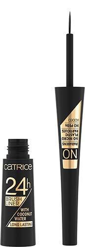 Catrice 24h Brush Liner, Eyeliner, Eye Liner, Nr. 010 Ultra Black, schwarz, pflegend, definierend, Expressergebnis, schnelltrocknend, langanhaltend, matt, vegan, ohne Parfüm, 3er Pack (3 x 3ml)