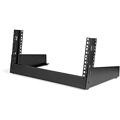 "StarTech.com 4U 19"" Desktop Open Frame Rack - 2 Post Free-Standing Network Rack Switch Depth for Patch Panel/Data/AV/IT/Communication/Studio/Computer Equipment 66lb Capacity w/Cage Nuts/Screws (RK4OD)"