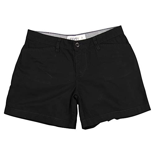 Urban Boundaries Women's Flat Front Chino Shorts (Black, 5