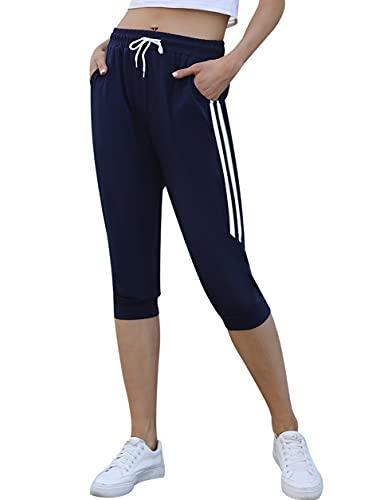 Enjoyoself Pantaloni Tuta Donna Sportivi con Coulisse Casual Pantaloni per Primavera Estate Pantaloni da Pigiama Yoga Jogging Capri Pants