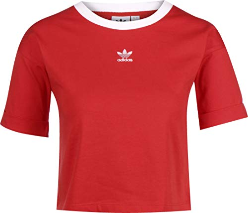 adidas Damen Crop Tank Top, Lush red/White, 38