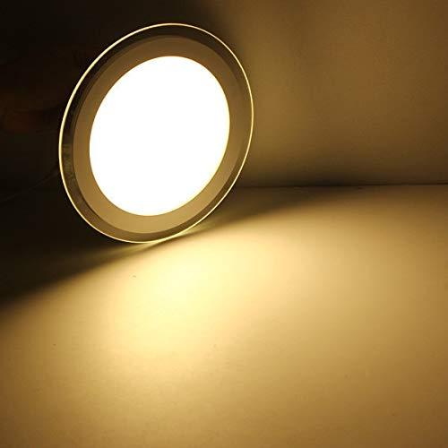 TANGIST Lámparas empotradas del panel de cristal del techo del techo de la luz del panel de cristal redondo del panel del panel del panel del downlight (Emitting Color : Warm White)