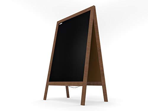 ALLboards Lavagna Nera da Gesso con Cavalletto 150x61cm, Struttura in Legno, Scrivibile con Gessetti e Pennarelli a Gesso, per Bar Ristoranti Locali