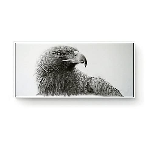 DATOUFBHImmagini a Parete 30x60cm x1pcs FramelessGrande Cool Eagle Animal Testa di Renna Immagini a Parete Modern Art Poster Bianco Nero Tela Pittura per Living Room Decor