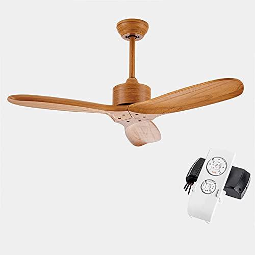 L-WSWS Luz del ventilador de techo Ventilador industrial del ventilador de techo de madera de la vendimia sin luz Remex Control de ventilador decorativo de madera con ventiladores retro
