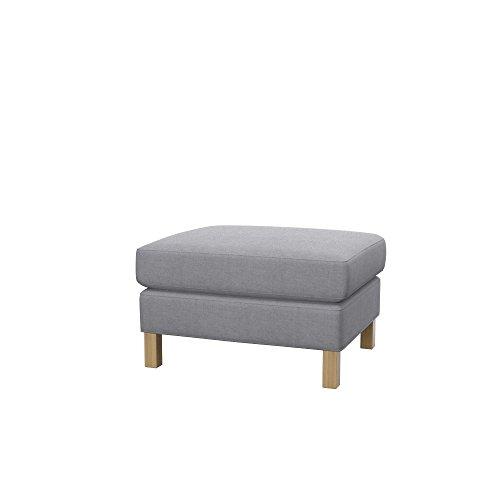 Soferia Bezug fur IKEA KARLSTAD Hocker, Stoff Elegance Light Grey