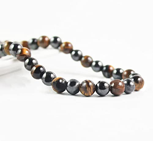 Premium Tiger's Eye Stone High Strength Hematite Magnetic Beads Therapy Necklace, Arthritis Pain Migraine,Joint Pain, Anxiety Relief Healing Stones Black Obsidian Jewelry for Men and Women(Unisex)