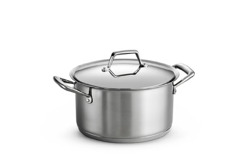 Tramontina 80101/016DS Gourmet Prima Stainless Steel, Induction-Ready, Impact Bonded, Tri-Ply Base Covered Sauce Pot, 6 Quart, Made in Brazil