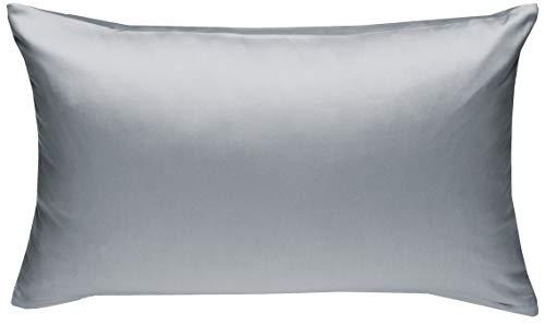 Mako-Satin Baumwollsatin Bettwäsche Uni einfarbig zum Kombinieren (Kissenbezug 60 cm x 80 cm, Grau)