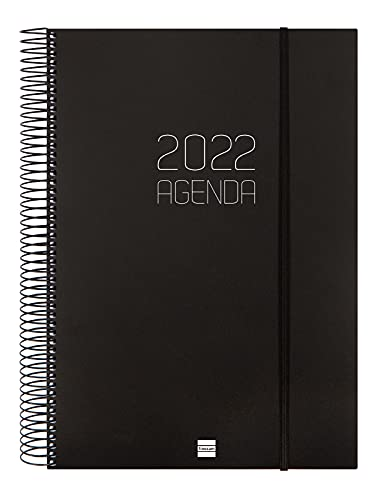 Finocam – 2022 1 Day Page Diary, January 2022 to December 2022 (12 months) E40 – 210 x 297 mm Spiral Opaque Black Catalan