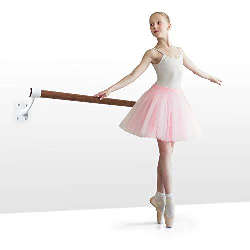 Klarfit Barre Mur - Barra de ballet, Montaje en pared, Largo 110 cm, Estructura de acero con revestimiento en polvo, Larguero de aspecto madera, Diámetro de 38 mm, 4 tornillos en cada lado, Blanco