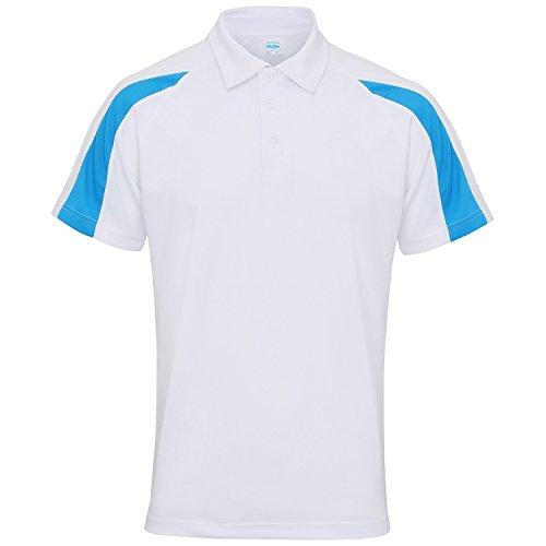 AWDis Just Cool - Polo à manches courtes - Homme (2XL) (Blanc arctique/Bleu saphir)