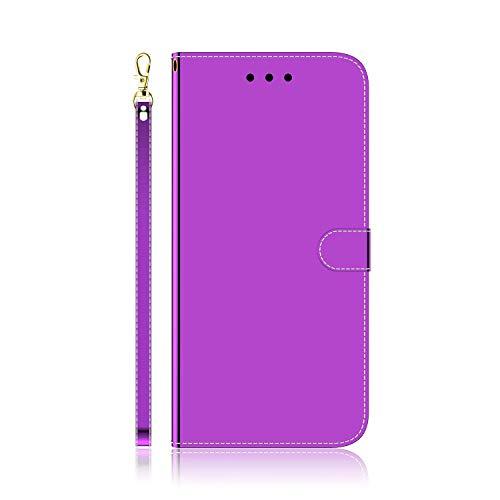 Funda para Samsung Galaxy M62 F62, 3D Bling a prueba de golpes, de piel sintética, funda de TPU con soporte para tarjetas, cubierta protectora magnética para Samsung Galaxy M62 F62, color morado