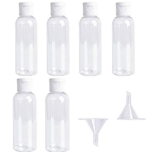 Set di Flaconi da Viaggio Trasparenti, Sub-container Liquido per Aeromobili Aeronautici (100 ML), Contenitore da Viaggio per Cosmetici e Articoli da Toeletta con 2 Mini Imbuti (6 Bottiglie)