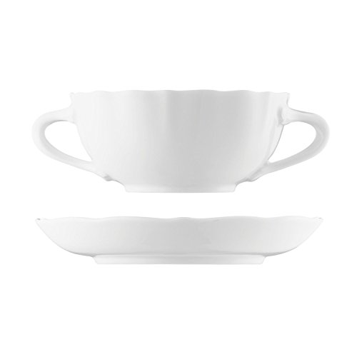 Hutschenreuther Maria Theresia Bol à Soupe avec Soucoupe, Porcelaine, Blanc, 28 cl, 2 Pièces, 10420