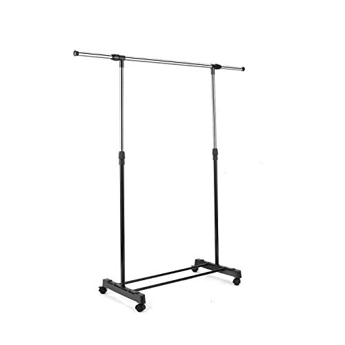 Nesaila Garment Racks,Adjustable Single Rod Rolling Portable Hanging Clothes Holder with Wheels