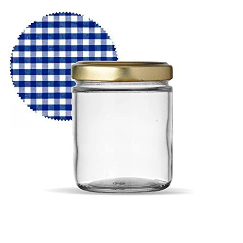 Tarros de Cristal con Tapas para conservas Pack de Frascos hermeticos de 445 ml con Tapa de Rosca y cubretapas Cerrado hermético para Todo Tipo de conserva casera. Pack de 12 unidades