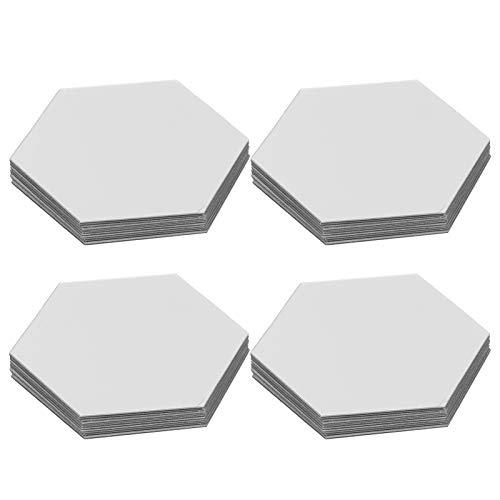 Pegatina de acrílico para espejo arte de espejo bricolaje decoración para el hogar, espejo hexagonal en 3D ajuste de pared, pegatinas autoadhesivas, decoración para la habitación 12PCS(18.4cm-Plata)