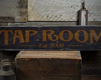 free brand Cartel de madera para habitación de grifo, decoración de la fecha establecida, regalo de cerveza de estilo rústico, hecho a mano, estilo vintage