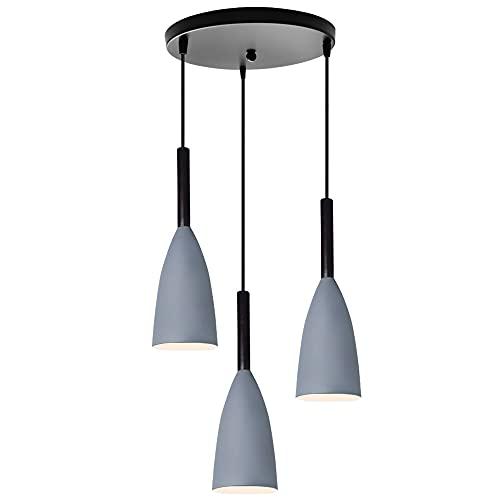 Lámparas Techo Colgantes Modernas 3 Luces Lámparas De Techo E27 Pantalla Lampara Colgante LED De Salón Cocina (Gris)