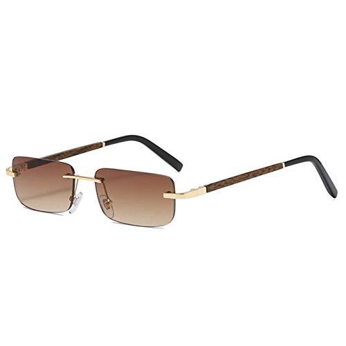 ZZOW Gafas De Sol Graduadas Sin Montura Rectangulares Pequeñas A La Moda para Mujer, Gafas De Grano De Madera Vintage para Hombre, Gafas De Sol Cuadradas, Sombras Uv400