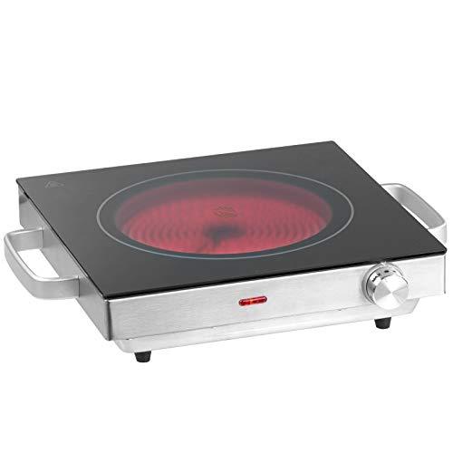 Jago® Infrarot Kochplatte - Elektrisch, 2000 W, Ø 20 cm, Überhitzungsschutz, Stufenlose Temperaturregulierung, aus Glaskeramik und Edelstahl - Kochfeld, Einzelkochplatte, Herdplatte, Minikochplatte