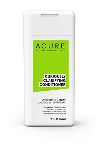 ACURE Curiously Clarifying Conditioner - Lemongrass & Argan | 100% Vegan | Performance Driven Hair Care | Gently Cleanses, Removes Buildup, Boost Shine & Replenishes Moisture | 12 Fl Oz