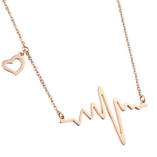 PAURO Donna Stainless Steelel ECG Ciondoli A Forma di Collana, Placcato Oro Rosa