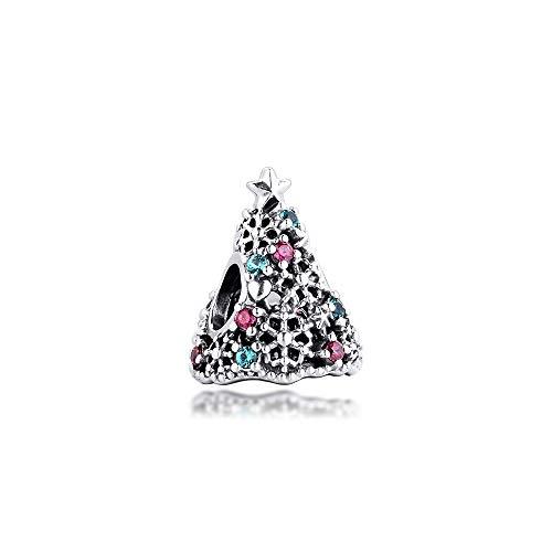 Pandora 925 smycken armband naturligt glitter julgran berlock äkta sterling silver pärlor som passar Berloques kvinnor gör-det-själv gåva