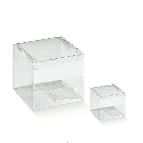 10 boîtes Etui Pliable PVC x Bomboniere Transparent 9 x 9 x 9 cm