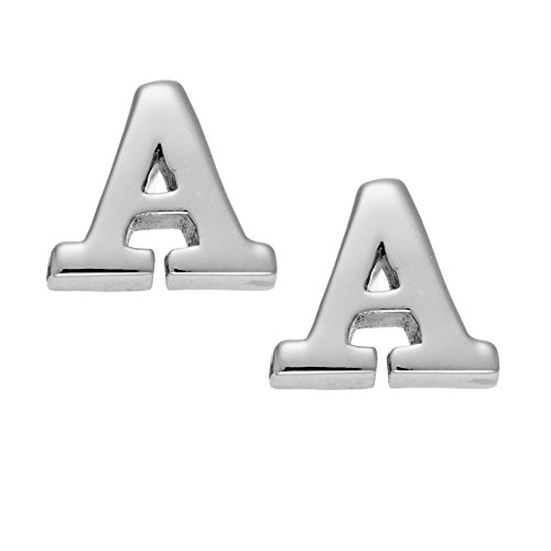 Silverly 6 mm Nombre Letra Alfabeto Inicial Aretes Pendientes de Botón Mujer Plata de Ley .925