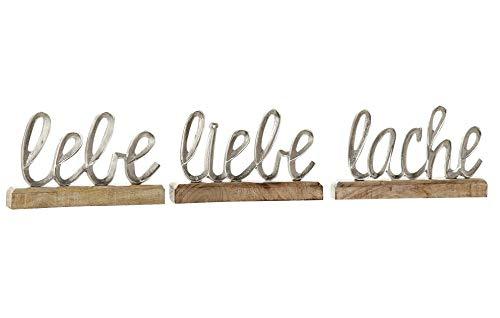 3 x Schriftzug Lebe Liebe Lache Aluminium Höhe 12,5 cm Silber, Tischdeko, Aufsteller